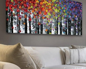 "Abstract Art PRINT Wall Art birch tree aspen landscape large modern canvas colorful up to 72"" Susanna"