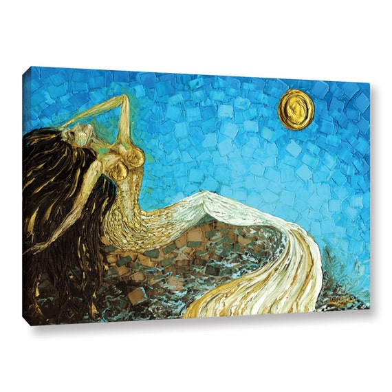 Gold Mermaid Art PRINT on Canvas Fantasy Wall Art Impressionist Abstract Seascape by Susanna