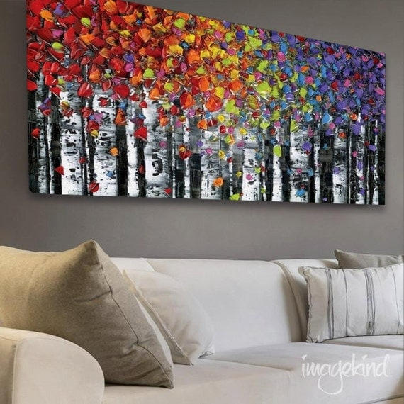 """Abstract Art PRINT Wall Art birch tree aspen landscape large modern canvas colorful up to 72"""" Susanna"""