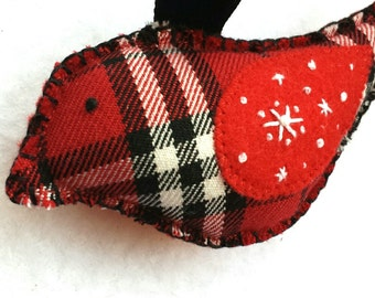 CLEARANCE embroidered snowflake red plaid bird ornament, handmade christmas or valentine holiday tree decor, embroidery on eco-felt wing