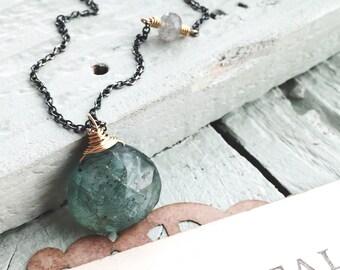 F o g...Moss Aquamarine necklace, labradorite, throat chakra, peace, boho, calming, March Birthstone, Moss layering necklace FREE SHIPPING
