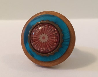 Woodsy Floral - Stacked Button Ring