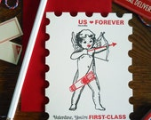 letterpress first class valentine stamp greeting card cupid bow & arrow valentine, you're first class