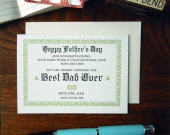 letterpress happy father's day best dad ever certificate greeting card sage & black ink