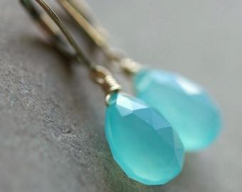 Aqua Blue Chalcedony Teardrop Briolette Earrings, Wire Wrapped, 14K Gold Filled Sterling Silver
