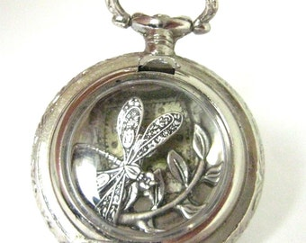 Dragonfly Pocket ...  Steampunk Victorian Shadowbox Dragonfly Watch Case Pendant  One of a Kind