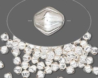 4MM SILVER Plated Double Cone beads 20 pcs