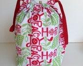 HOLIDAY SALE - Christmas Hope Peace Joy Knitting Drawstring Project Bag