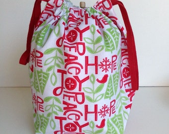 MOVING SALE - Christmas Hope Peace Joy Knitting Drawstring Project Bag