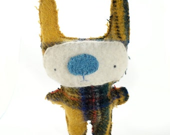 Big Yellow Plaid Foo - Recycled Wool Plush Toy