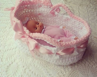 "Downton Abbey Inspired Crochet Pattern - Little Moses Basket 8 - 12"" doll - Photo Tutorial - Doll Carrier"