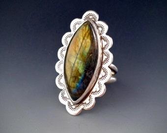 Labradorite Sterling Silver Statement Ring Size 7