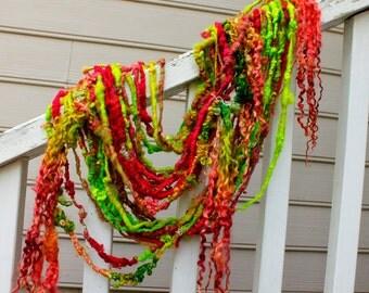 Handspun Art Yarn- Crepe Myrtle- Signature Jazztutle TextureSpun Artisan Yarn