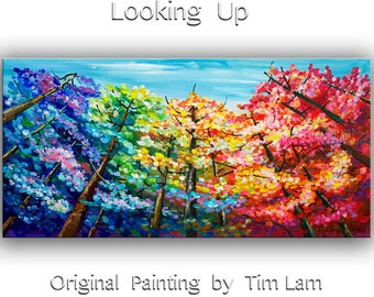 Art, Painting, Acrylic Painting, colorful art, tree painting, Modern art home decor Wall art, 72x36 Tim Lam -- looking up forest