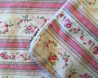 Pair Vintage Pillow Ticks - Pillow Cover - Pink Stripes - Flowers - Zipper Pillow Case - Farmhouse Linens