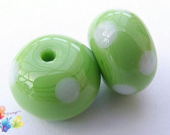 Lampwork Beads Apple Green Polka Dot Pair