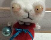 Sweet white kitty needle felted ooak  Christmas ornament art doll