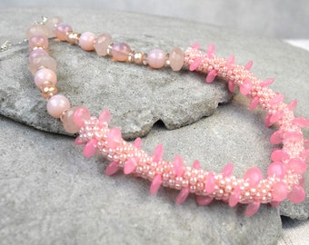 Pink Blush Necklace - Pink Bead Crochet Rope - Beaded Crochet Rope Delicate Pink Necklace - Real Pearl Necklace - Pale Pink Necklace