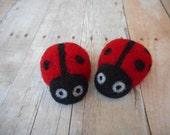 Needle Felted Ladybugs, Wool, Needle Felted, Handmade, Small, Red, Set of Two