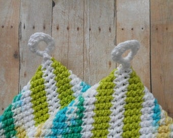 Crocheted, Cotton, 2 Layer,  Potholders, Hot Pads, Trivets, Pond Algae Colors, Set of Two, Handmade,