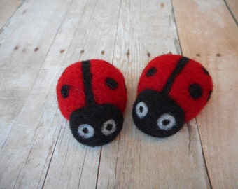 Needle Felted Ladybugs, Wool, Needle Felted, Handmade, Small, Red, Set of Two