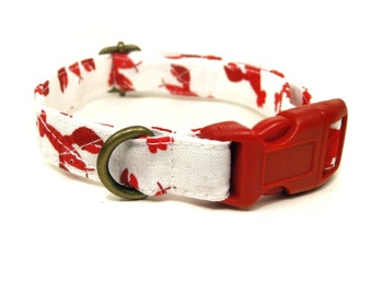 Maine Lobster - White Red Lobster Crab Nautical Organic Cotton CAT Collar - All Antique Brass Hardware