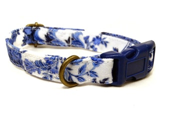 The Royals - White Blue Vintage Floral Shabby Chic Girl Organic Cotton CAT Collar - All Antique Brass Hardware