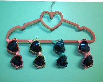 Crystal Rhinestone Heart Lolita Sunglasses Pink and Blue