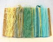 Art Yarn Bundle Aqua Yellow Yarn Scraps Weaving Scrapbooking 1326