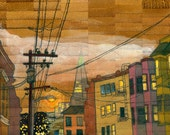 """Russian Hill, 4x7"""" Print Mounted on Wood"""