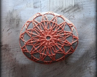 Home Decor, Crochet Lace Stone, Table Decoration, Nature, Handmade, Original, Orange Thread, Small, Star, Monicaj