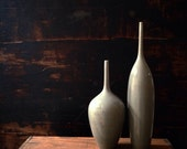 Ships Now- 2 medium stoneware bottle vasesin light grey gloss glaze by sara paloma