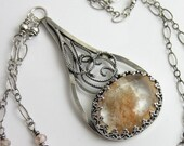 4th SALE Peach Fuzz Necklace - Lodolite (Phantom Quartz) with Sterling Silver Filigree