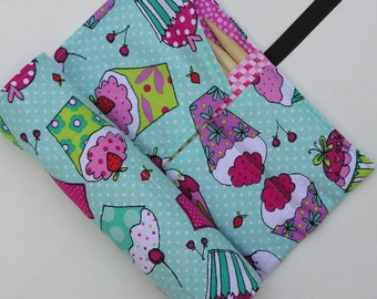 double pointed knitting needle case - organizer  - crochet hook - organizer - 28 pockets - colorful cukcakes