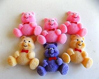 Flocked Bears Pastel Colors Set of 6 Kawaii Made in Taiwan
