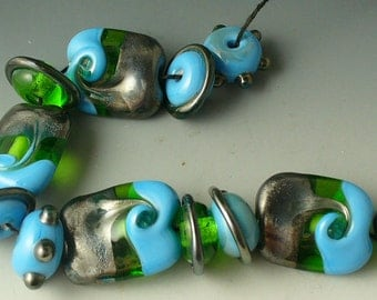 SRA Lampwork Glass Beads Handmade  by Catalinaglass  Smooth Sailing