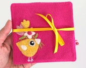 Set of two fuchsia pink wool fabric coasters with needle felted flowers tulips and yellow birdie bird