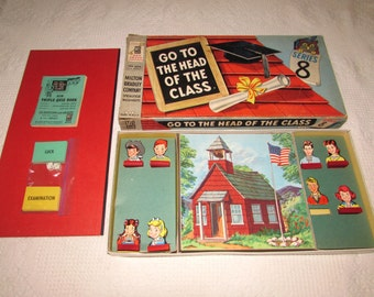 Vintage Childs Board Game, Go To The Head of the Class  by Milton Bradley, Series 8, 1957, Bright Colorful Graphics