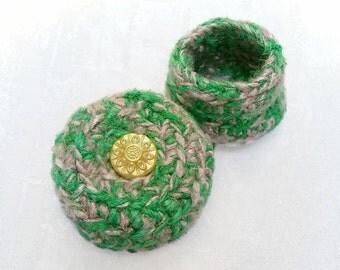 Retro Sun Treasure Box - Celestial Silk Tapestry Basket with Embellished Lid - Unique Handmade Yellow Green Shelf Decor Birthday Gift STB051