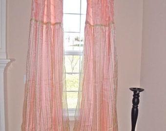 Curtain Panels (Pair)  Pink Striped Layered  LAST PAIR, window treatments, teen bedroom, girls room decor
