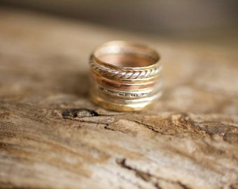 G O L D & S T E R L I N G  {Mixed metals stacking set, 14k Gold, Rose Gold, Sterling, Twisted Band, Personalized, Initials, Dates, Message}