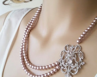 Art Deco Bridal Necklace, Wedding Necklace Statement, Bridal Jewelry Gatsby Style, Wedding Jewellery Pearl, Powder Almond, Champagne, Brooch
