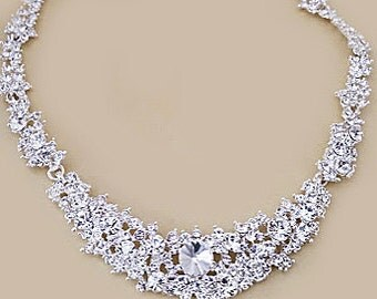 Crystal wedding necklace, Art deco bridal necklace, Great Gatsby, Wedding jewelry vintage, Bridal jewelry rhinestone necklace, Elvina