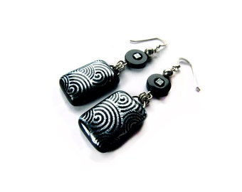 Black and Silver Earrings - Dichroic Glass