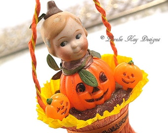 Little Pumpkin Vintage Inspired Halloween Art Doll Ornament Doll Hanging Art Doll Mixed Media Retro Halloween Lorelie Kay Original