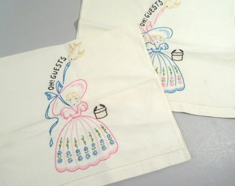 Vintage guest towels, embroidered souther belle bathroom towels, shabby chic hand towels, tea towels