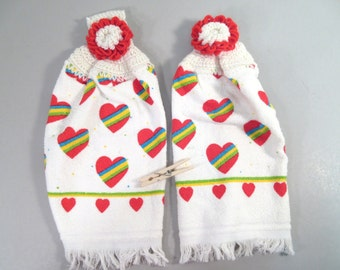 Vintage kitchen towels, 1980s heart print crochet edge hanging towels, white with striped hearts, red hearts