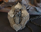 Cross Necklace, Movable Spider, Gothic, Creepy, One Of A Kind, Dark Decadent Patina, Handmade, Ready To Ship, USA