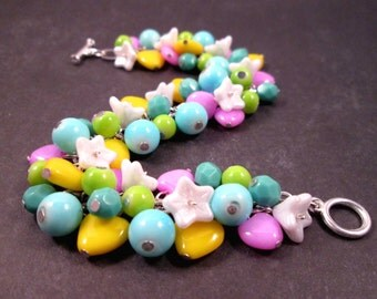 Silver Charm Bracelet, Opaque Sweetheart Bracelet, Colorful Cha Cha Style Bracelet, FREE Shipping U.S.