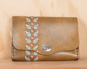 Leather Waist Purse - Small Leather Box Clutch in the Petal Pattern with Leaves - Use as Bum Bag - Clutch - Shoulder Bag or Crossbody Bag